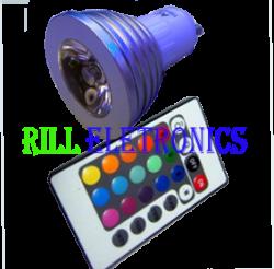 LÂMPADA LED RGB 3W C/ CONTROLE REMOTO