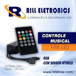 CONTROLE MUSICAL FITA LED RGB