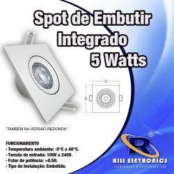SPOT  DE LED 5 WATTS INTEGRADO  90 X 90 MM