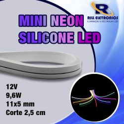MINI NEON FLEXÍVEL  DE LED 9.6 W / M  12 V SILICONE