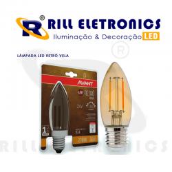 LÂMPADA FILAMENTO LED RETRÔ  VELA  2 WATTS
