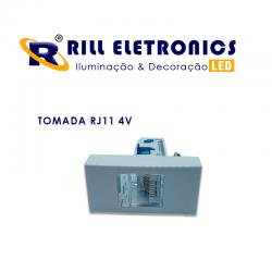 CONJUNTO TOMADA RJ 11 4V TELEFONIA + ESPELHO