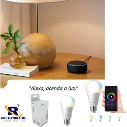 LÂMPADA DE LED INTELIGENTE SMART COLOR - 100-240V - 10 WATTS  NA COR BRANCA - 3 WATTS NAS CORES COLORIDAS