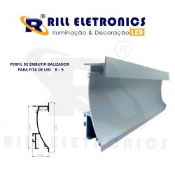 R-9 PERFIL DE EMBUTIR  BALIZADOR  RODAPÉ PARA FITA LED ( PINTURA -  ANODIZADO )