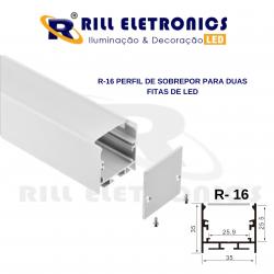 R-16  PERFIL DE SOBREPOR  PARA FITA LED  (  PARA DUAS FITAS )